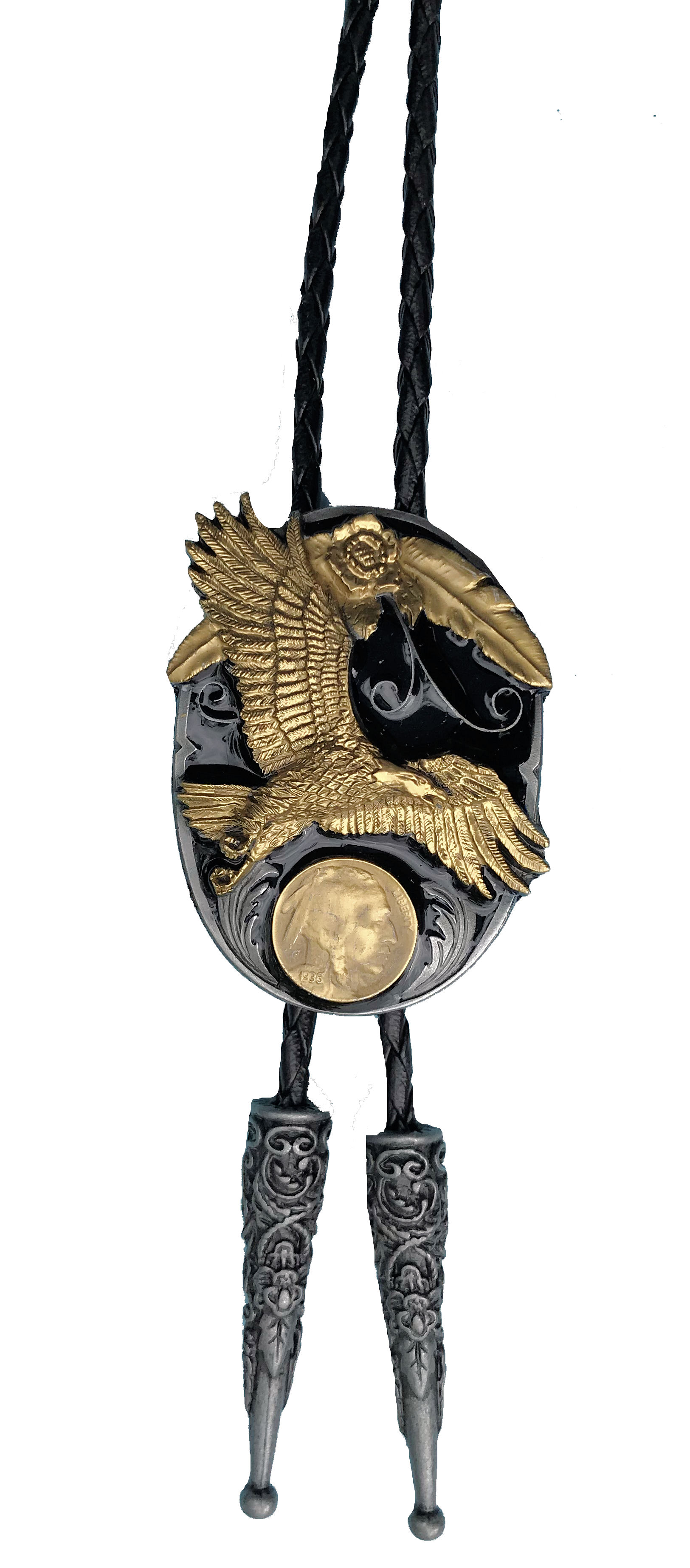 Eagle (Liberty Coin) Black & Gold Edition Bolo Tie