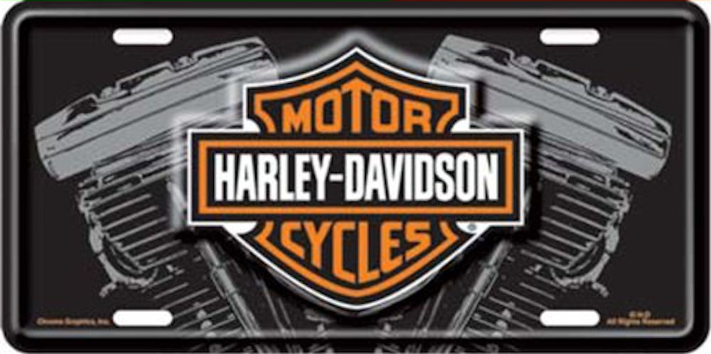 Harley Davidson Logo with V-Twin License Plate
