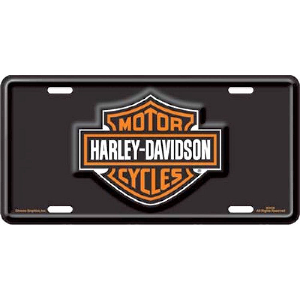 Harley Davidson Bar and Shield Black License Plate
