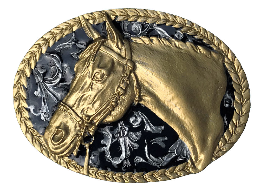 Horse Oval Black & Gold