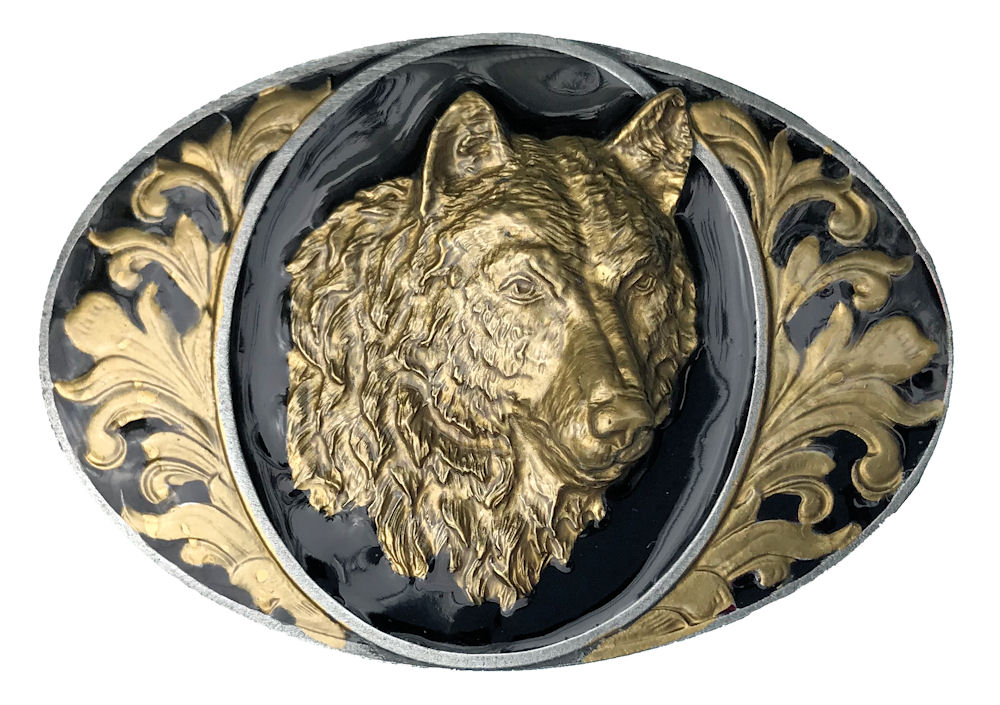 Oval Wolf Head Black & Gold Range