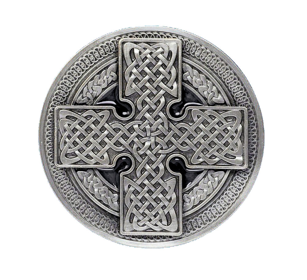 Round Cross Black Belt Buckle
