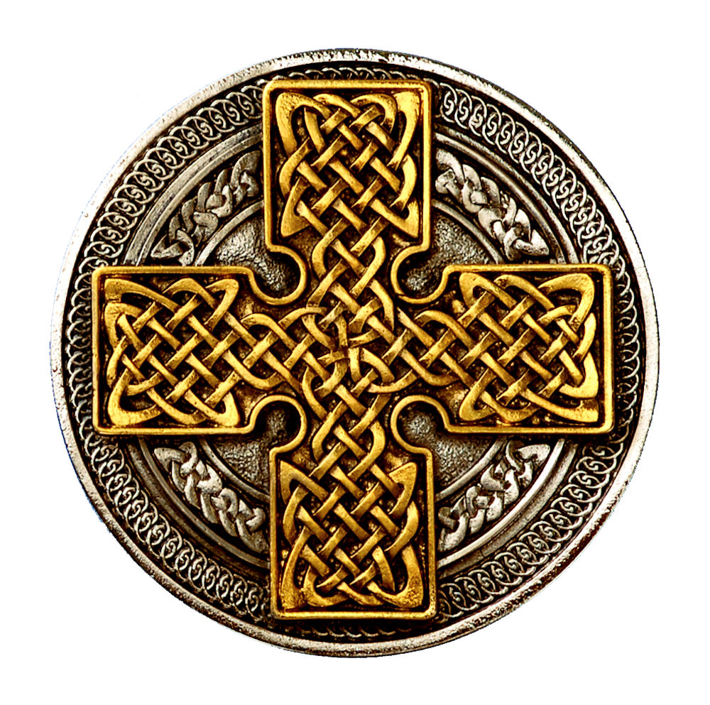 Round Cross Gold & Silver Plated Belt Buckle
