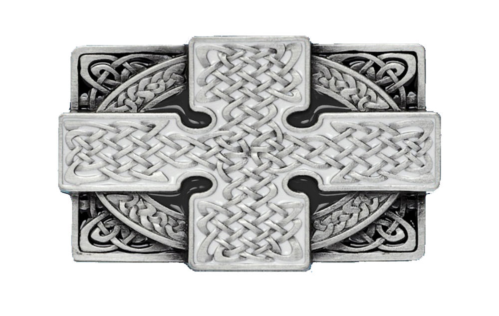 Cross Rectangle Black Belt Buckle