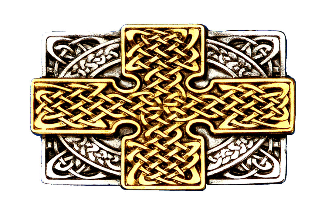 Cross Rectangle Gold & Silver Plated Belt Buckle