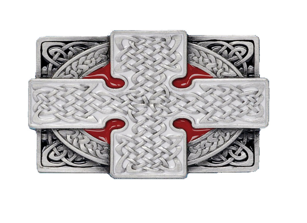 Cross Rectangle Red Belt Buckle