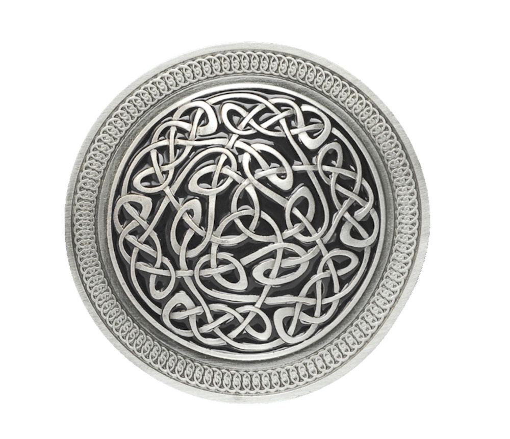 Round Celtic Pattern Black Belt Buckle
