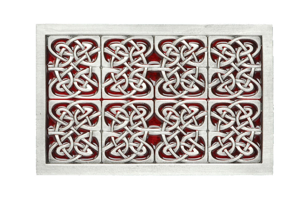 Celtic Rectangle Red Belt Buckle