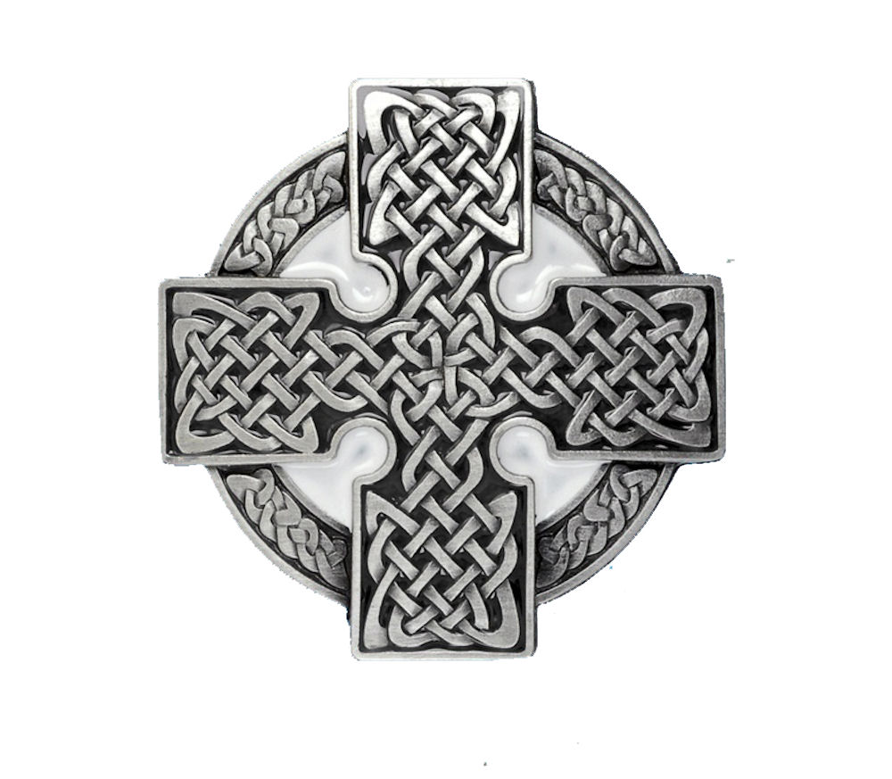 Celtic Cross Round Black Belt Buckle