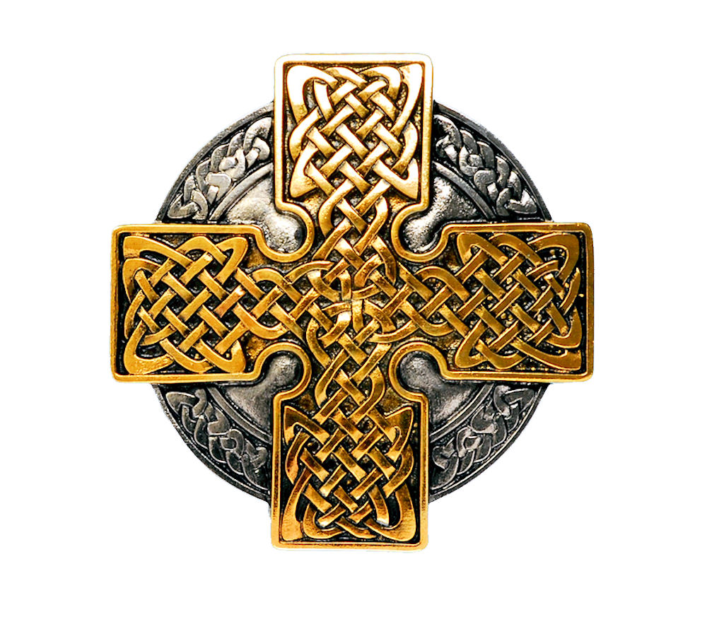 Celtic Cross Round Gold & Silver Plated Belt Buckle