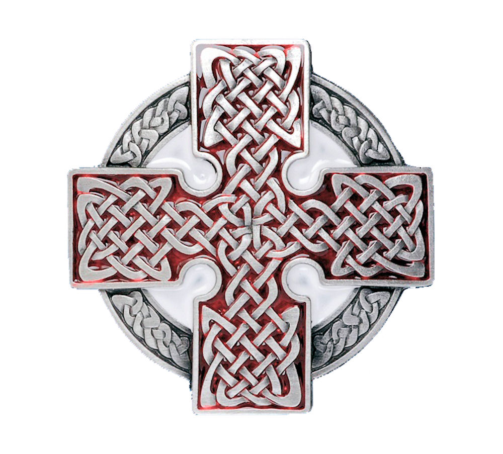 Celtic Cross Round Red Belt Buckle