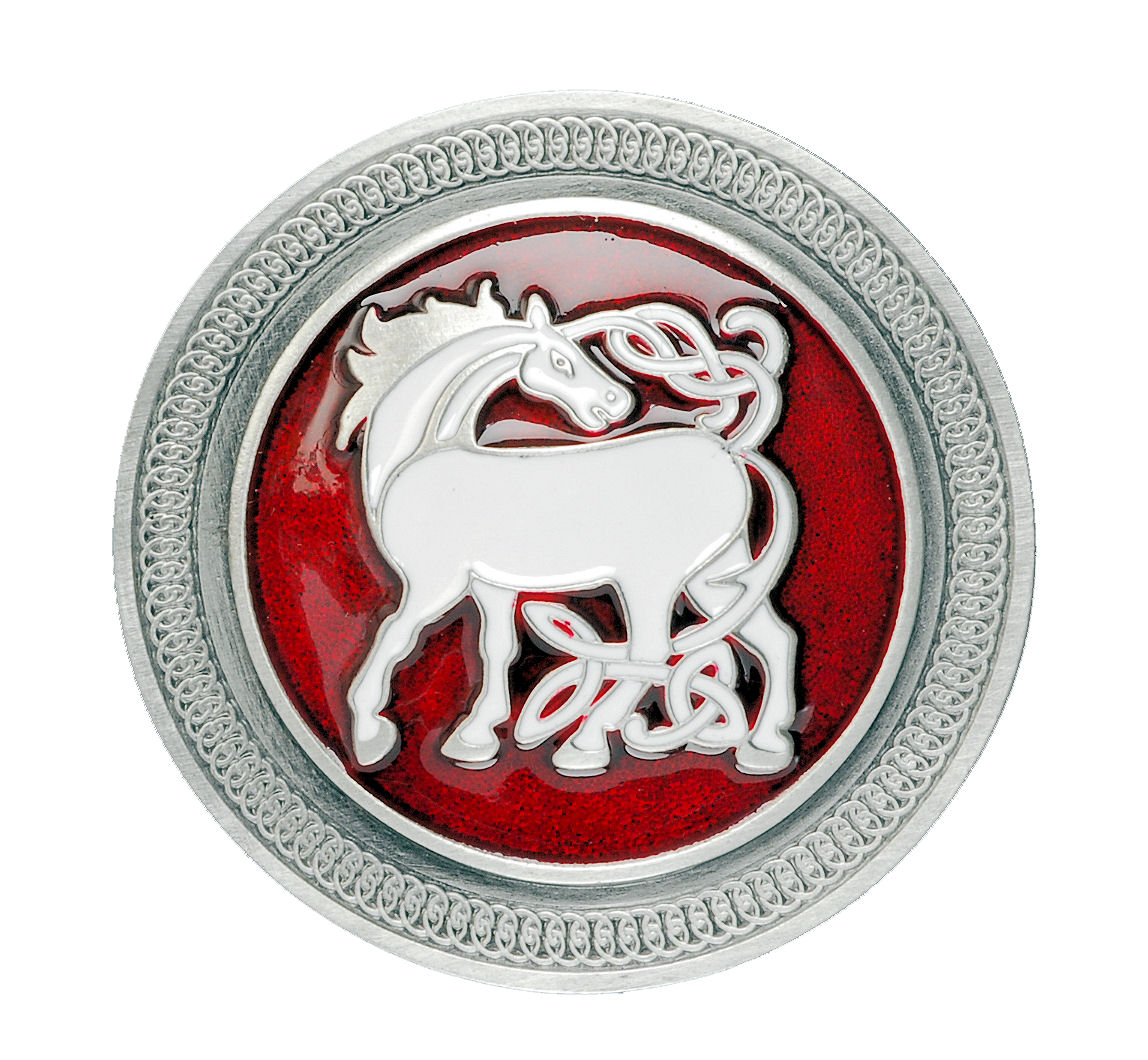 Stallion Horse Round Red Belt Buckle