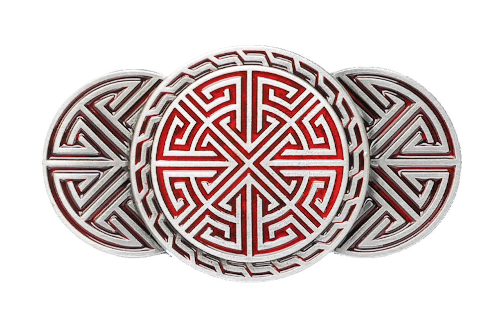 Celtic Runes Red Belt Buckle