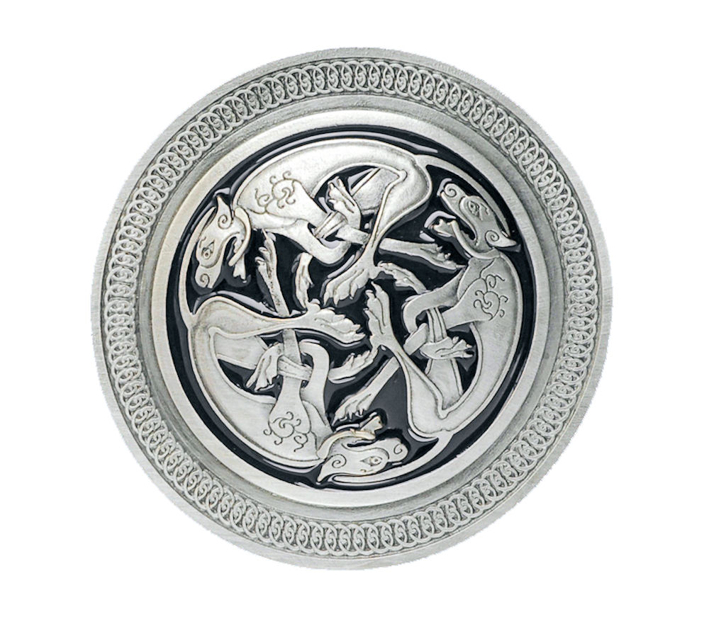 Celtic 3 Dogs Black Belt Buckle