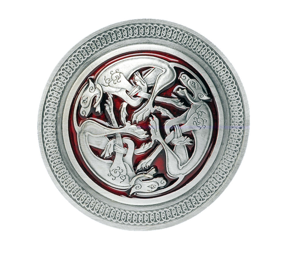 Celtic 3 Dogs Red Belt Buckle