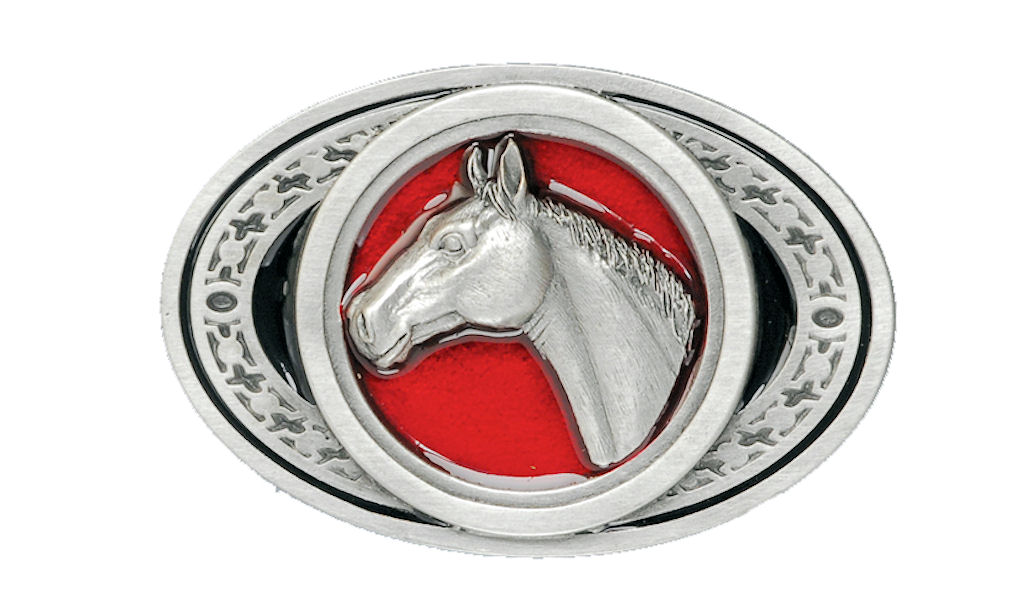 Horse Head Oval Belt Buckle