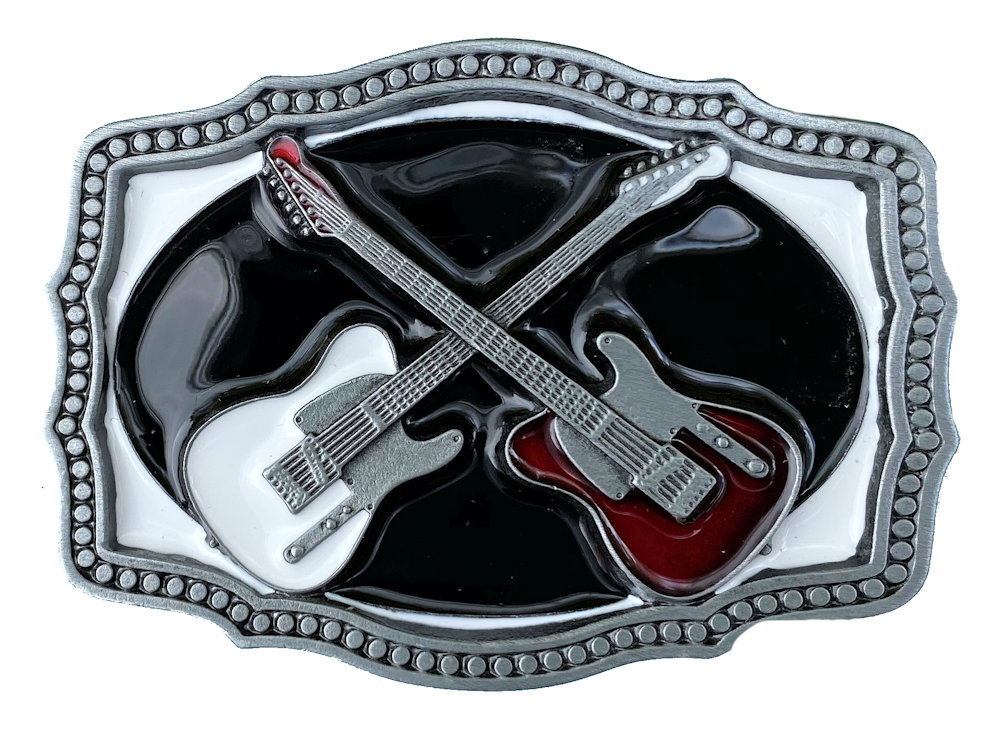 Crossed Guitars Belt Buckle