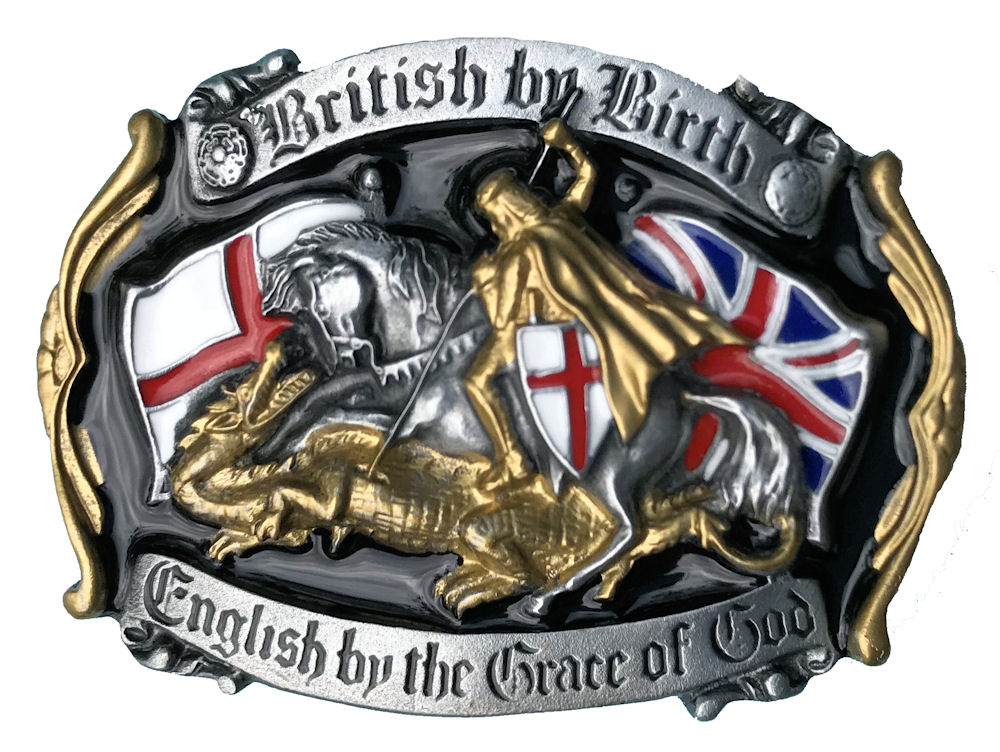 British By Birth Black & Gold Belt Buckle