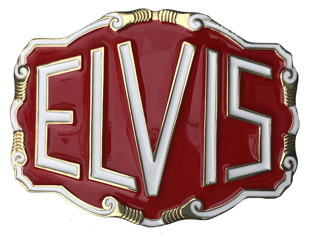 Elvis Letters - bright red Belt Buckle