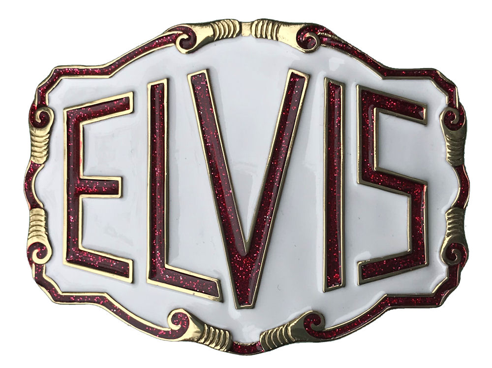 Elvis Letters white red glitter Belt Buckle