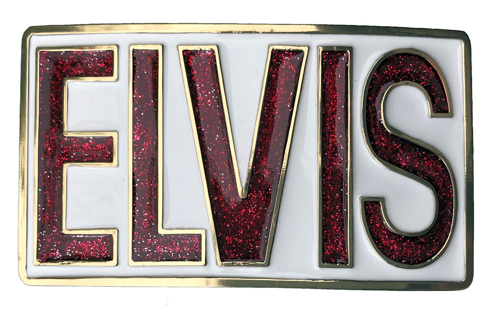 elvis rectangle - white & red glitter