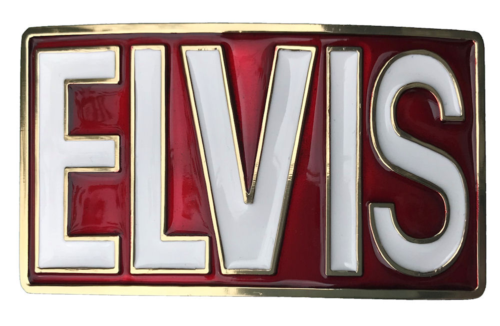 elvis rectangle - Red white letters