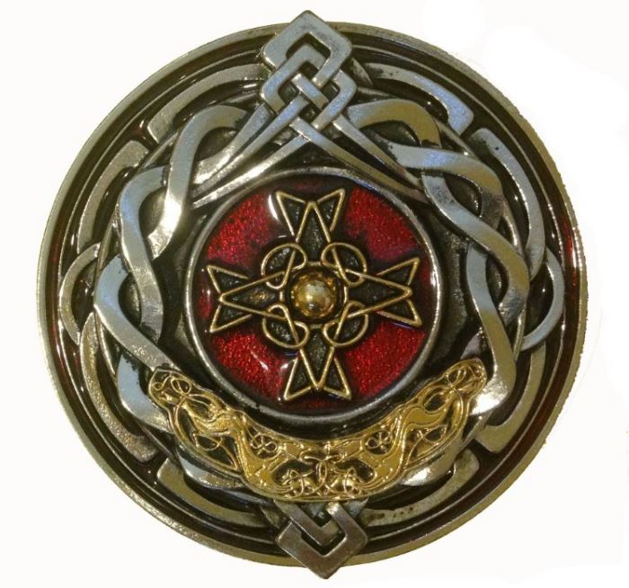 Celtic Round Cross Gold & Silver Plated Belt Buckle