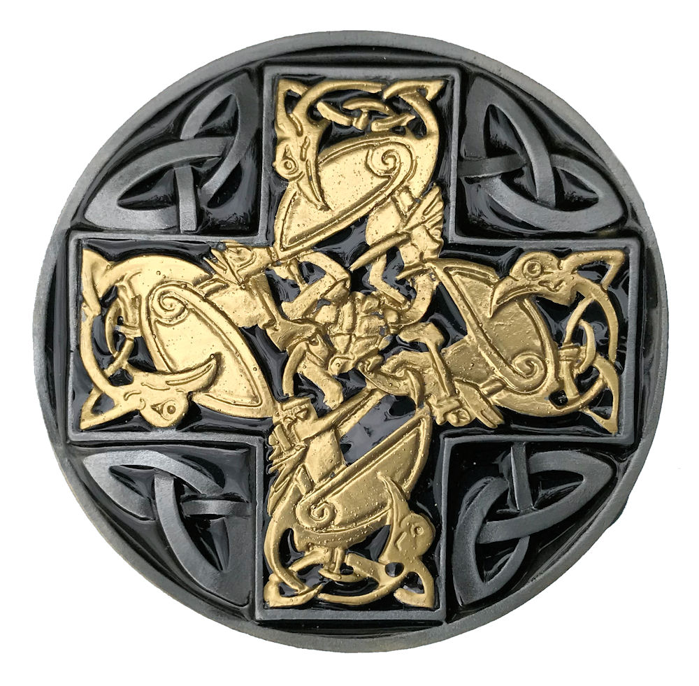 Celtic Giant Claw Gold and Silver Plated Belt Buckle