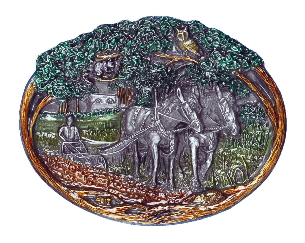 Horses Ploughing Field Belt Buckle