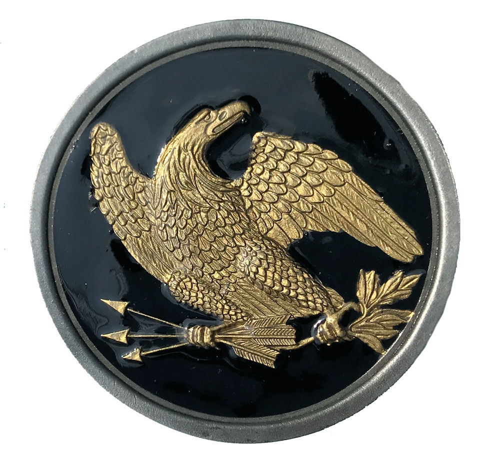 Eagle Round Belt Plate Black & Gold