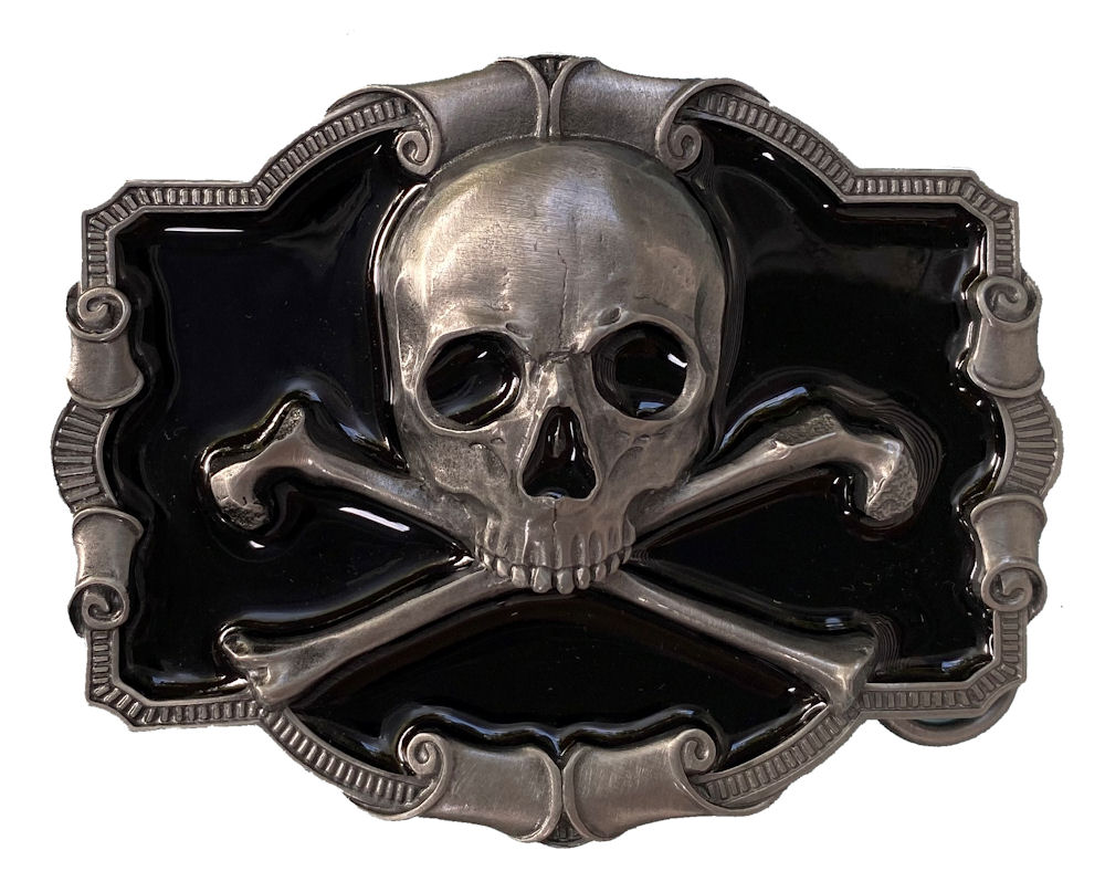 Skull - Crossbones Black Belt Buckle