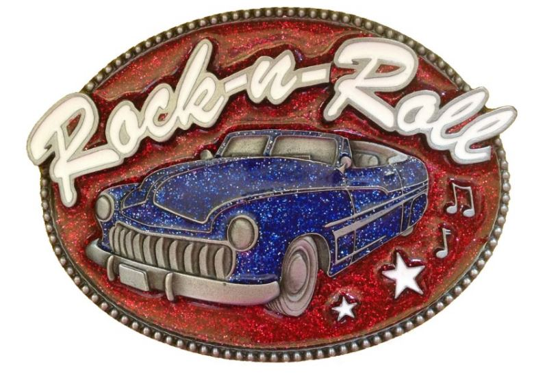 Rock & Roll Car Blue & Red Belt Buckle