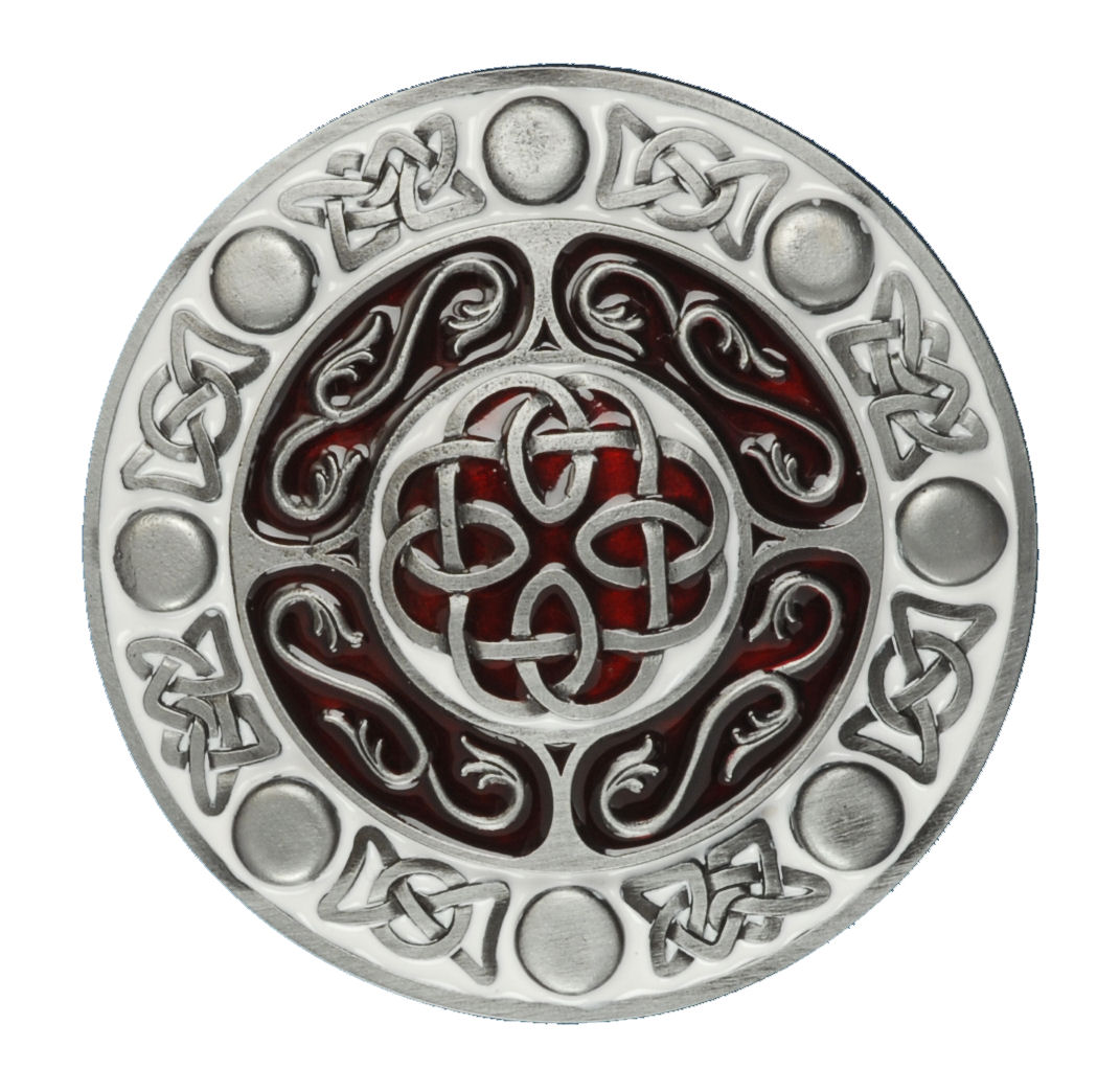 Celtic Design Round Red Belt Buckle