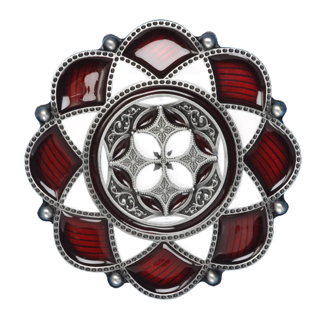 Celtic Flower Belt Buckle Red