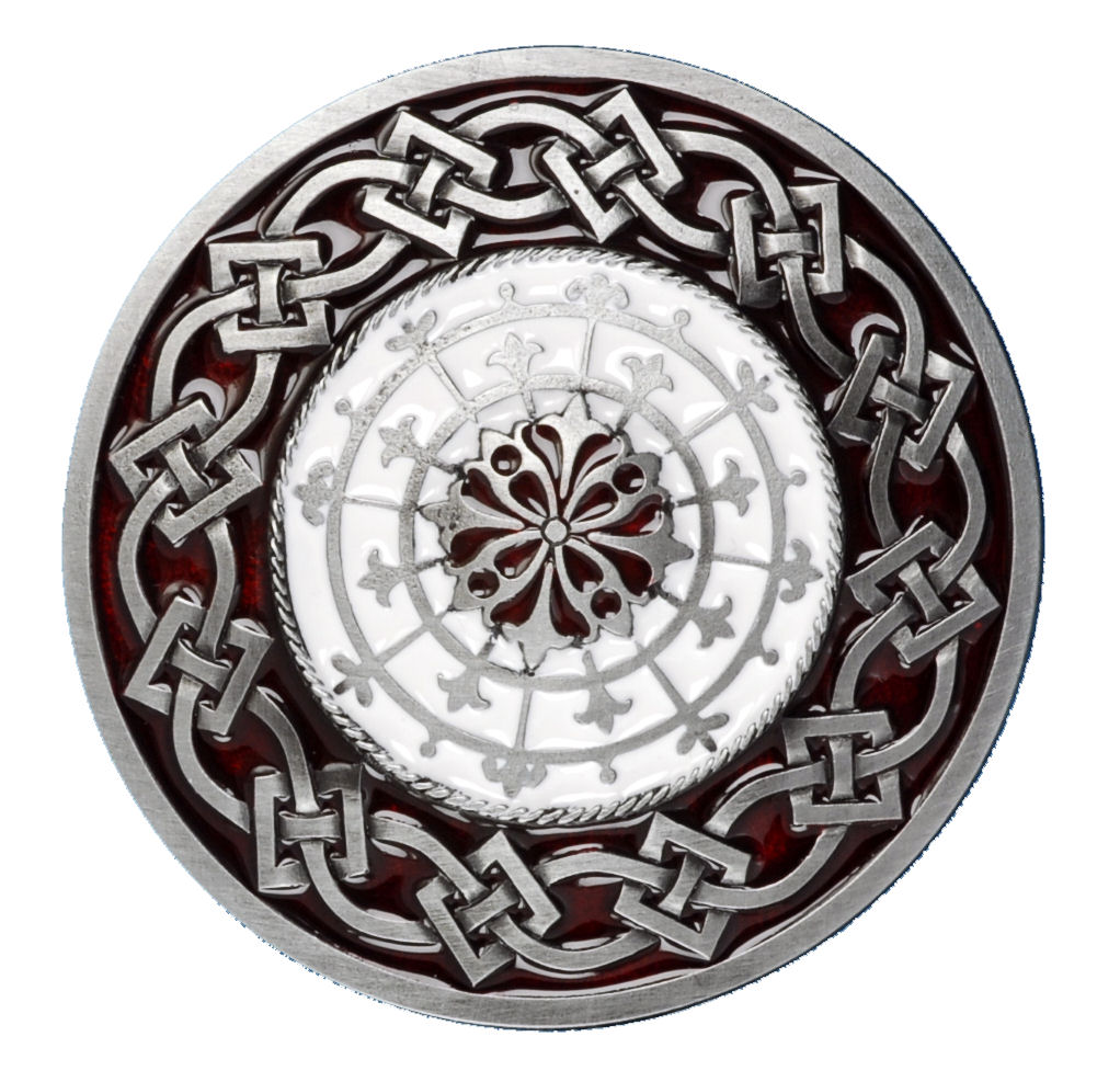 Celtic Round Design Red Belt Buckle
