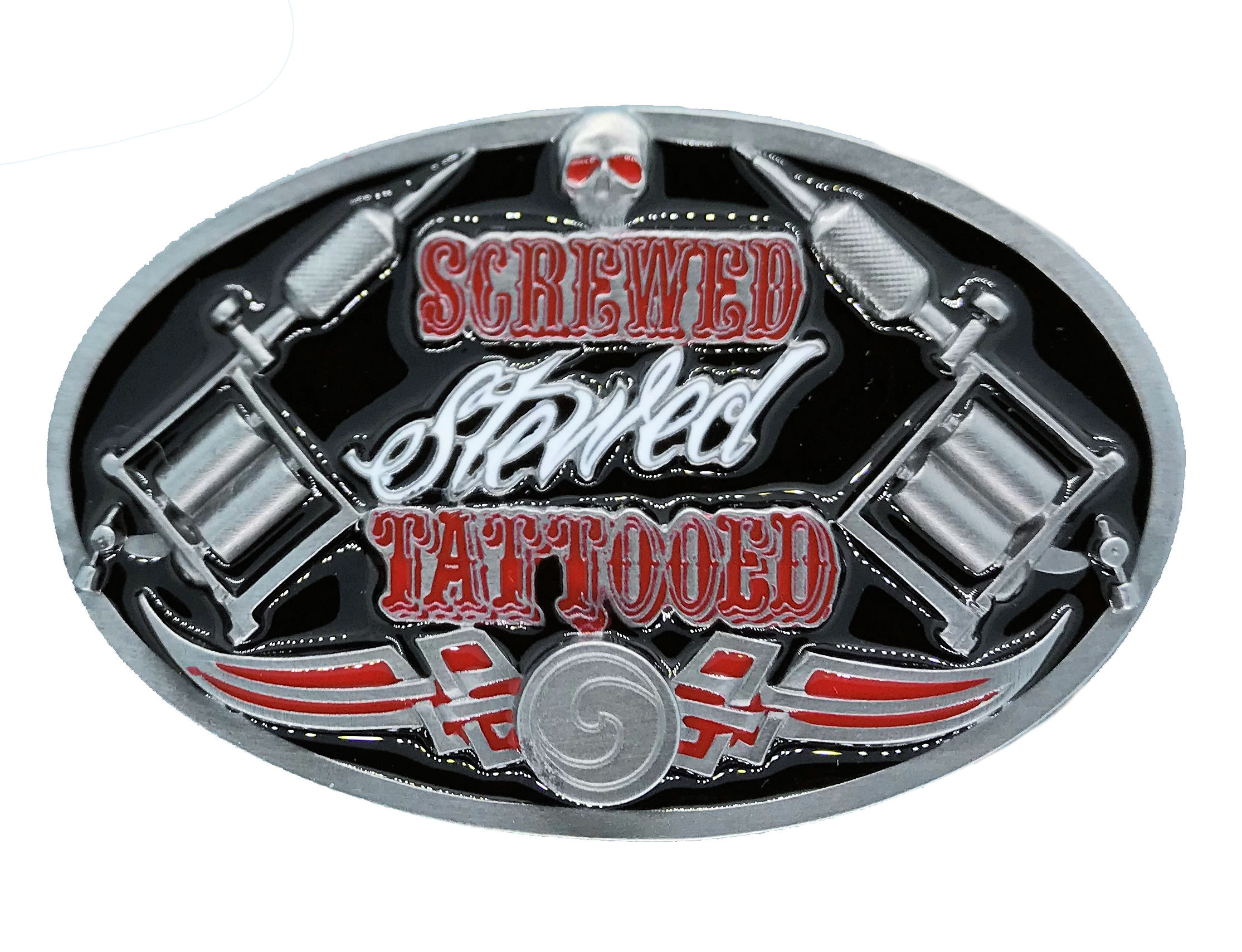 Screwed, Stewed, Tattooed Black Belt Buckle