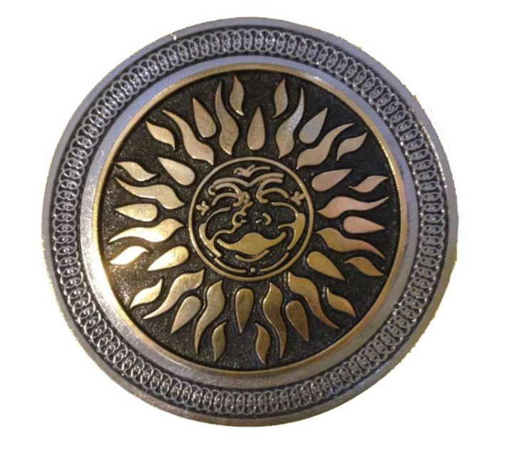 Tribal Sun Gold & Silver Plated Belt Buckle