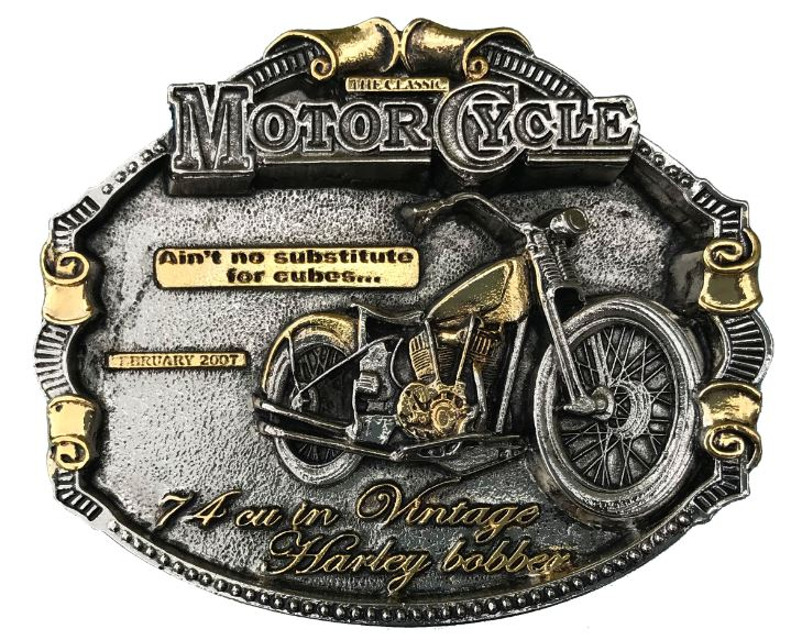 Harley Bobber Gold & Silver Plated Belt Buckle
