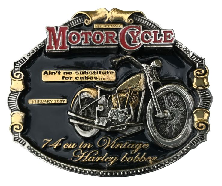 Harley Bobber Gold & Silver Plated Colour Belt Buckle