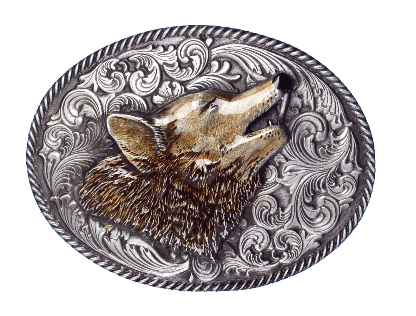 Oval Wolf Head Belt Buckle