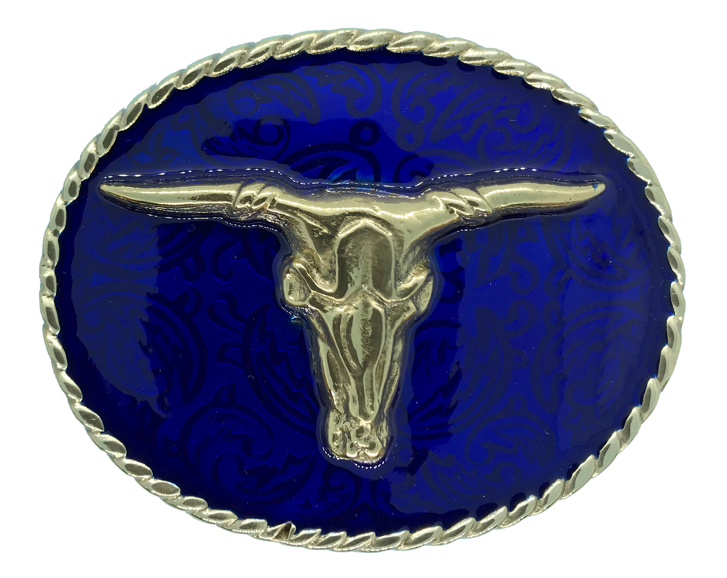 Rodeo Steer Blue Belt Buckle