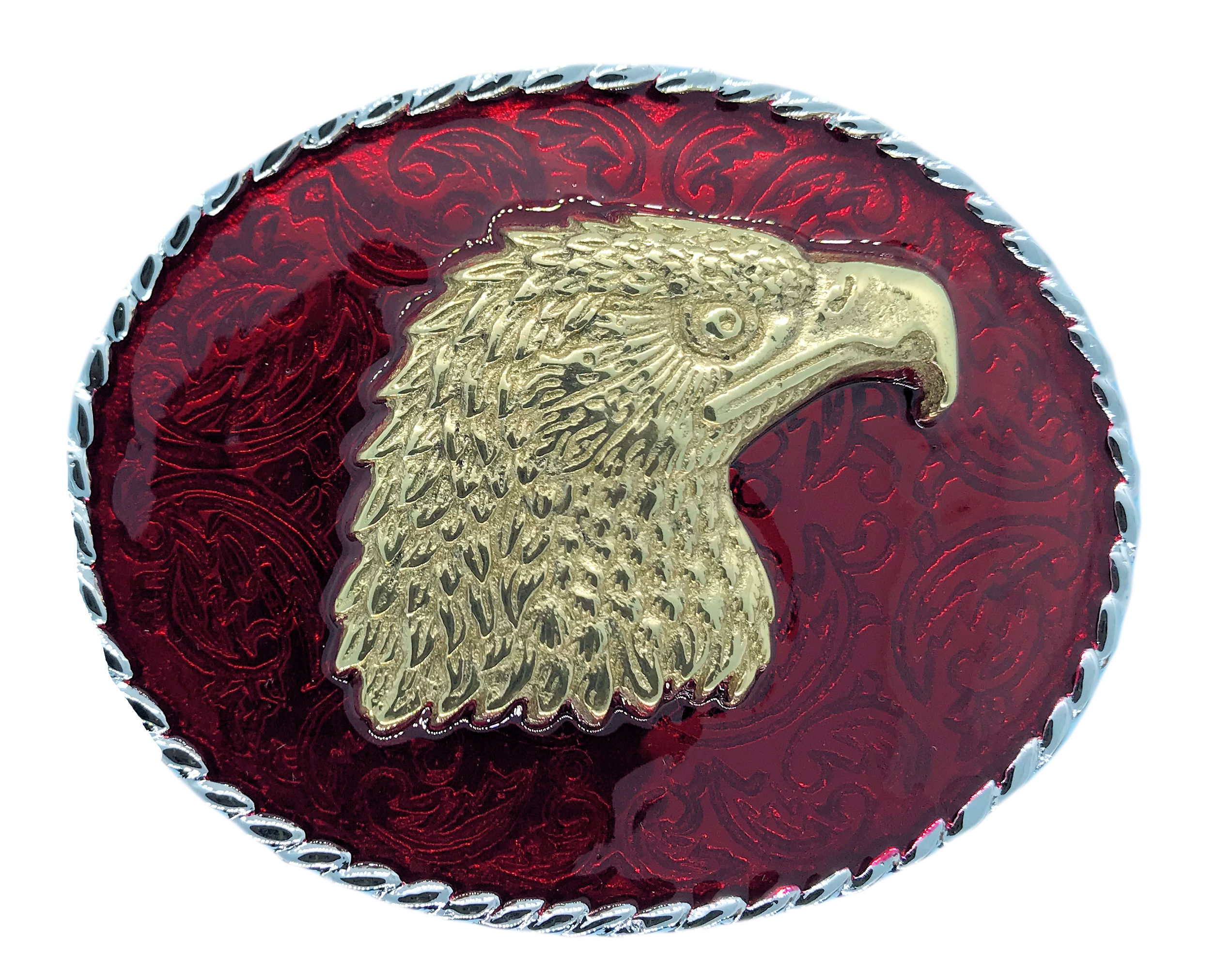 Rodeo Eagle Head Red Belt Buckle