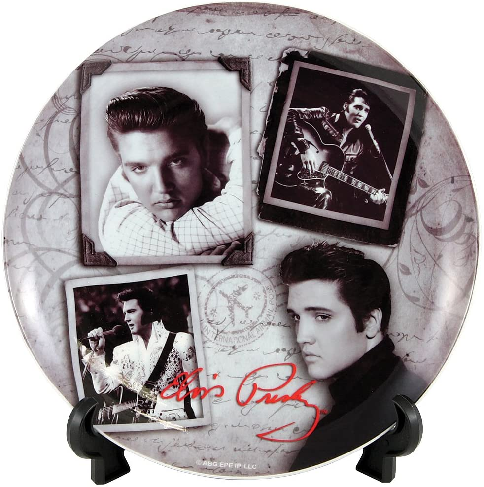 Elvis Presley Black And White Vintage Portrait Collectible Porcelain Plate