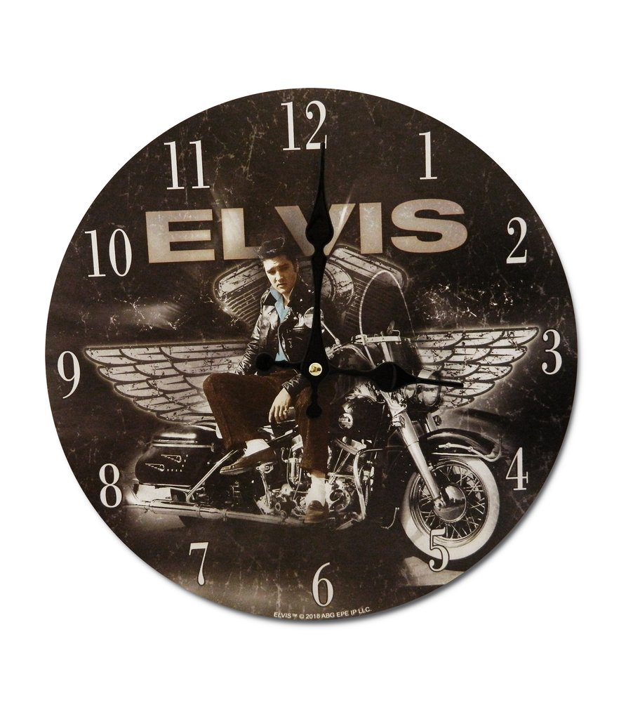 Elvis Clock Motorcycle w/Wings