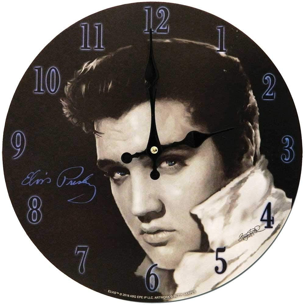 Elvis Presley Clock - Elvis Black & White Photo