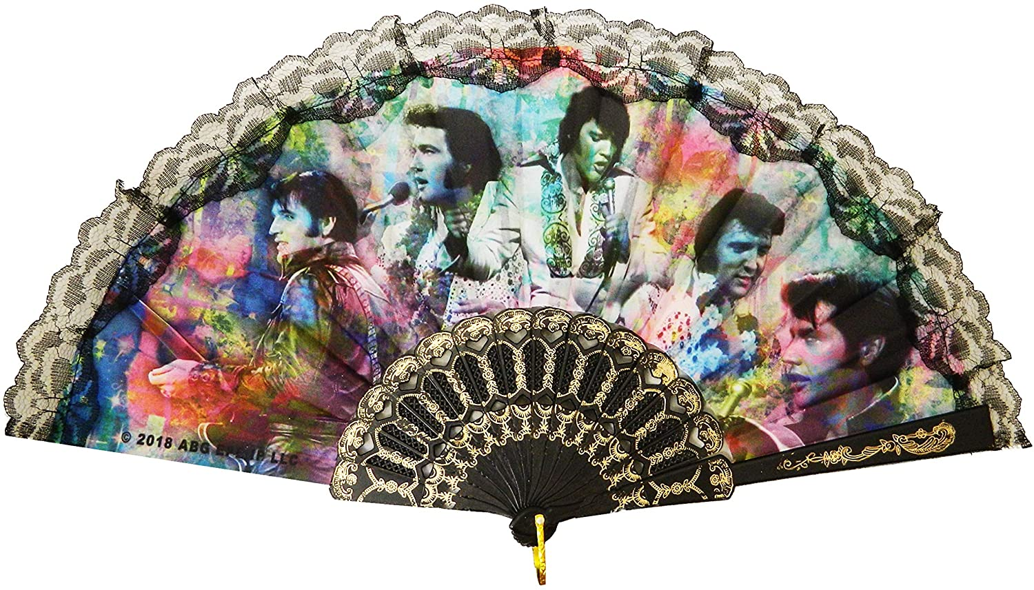 Elvis Colorful Collage Foldable Hand Fan