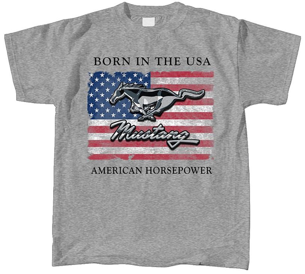 Mustang Born in USA Logo Officially Licensed T Shirt Large