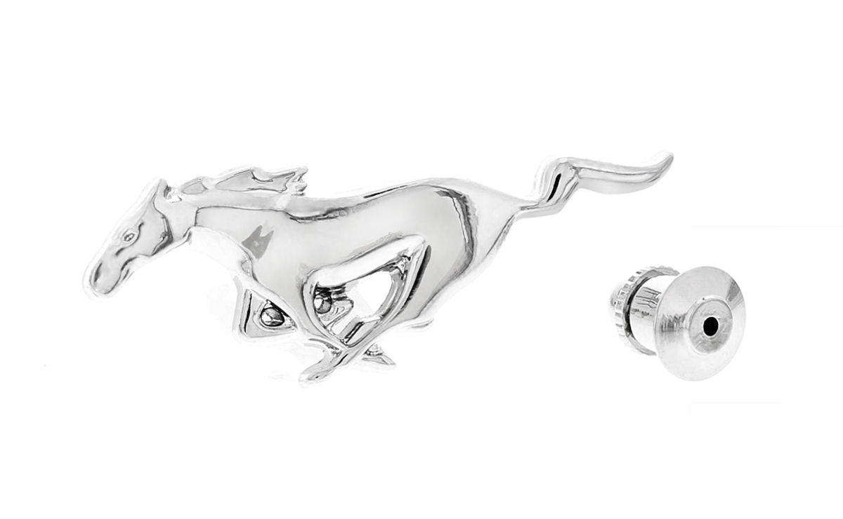 Ford Zinc Chrome Lapel Pin 3D Mustang Horse
