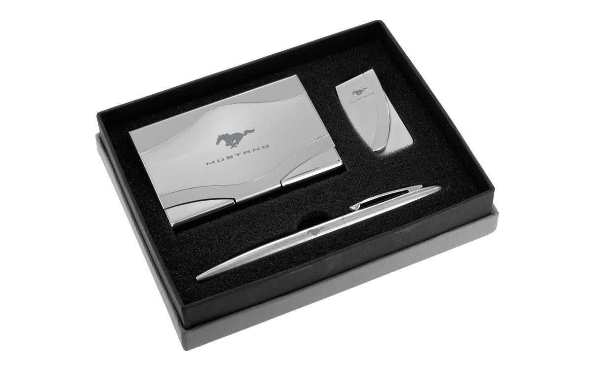 Ford Mustang 50th Anniversary Matte Chrome Card Case & Keyring Set