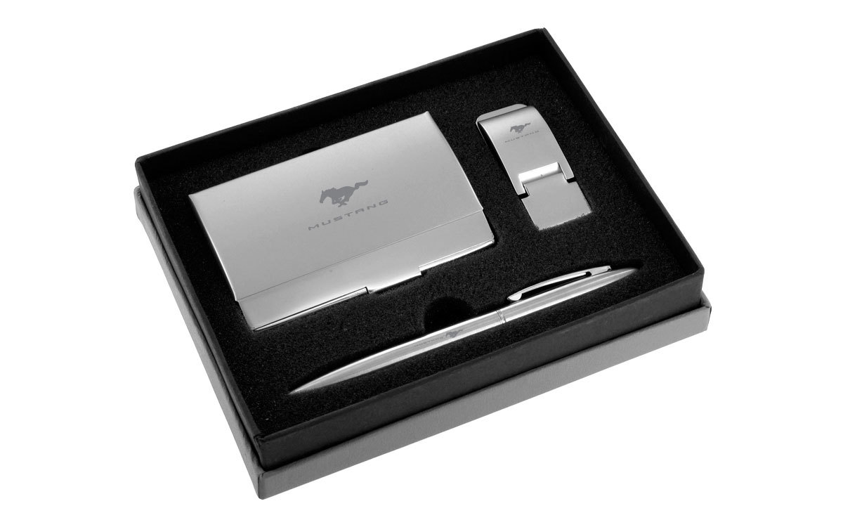 Mustang Chrome Money Clip, Card Case, and Ball Pen Gift Set